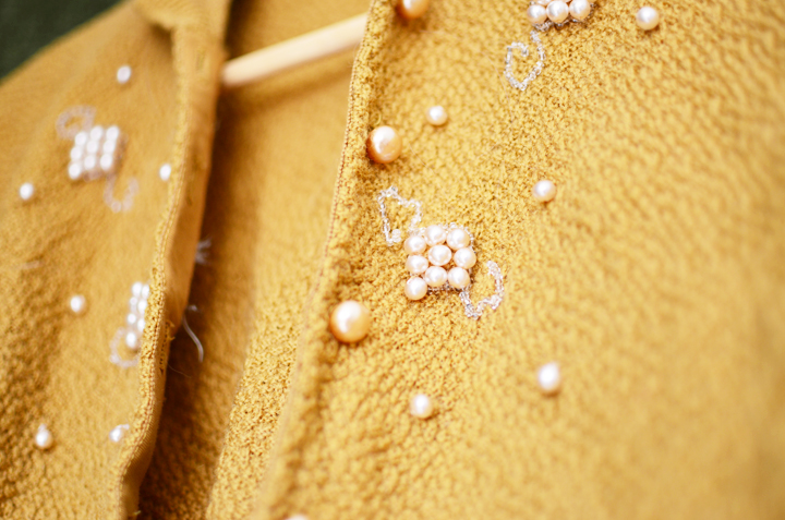 vintage mustard cardigan b