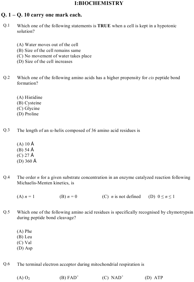 GATE 2013 Question Papers with Answers   Life Sciences [XL] in gate  Category