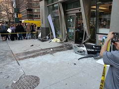 Car-smashed doorway of a Duane Reade