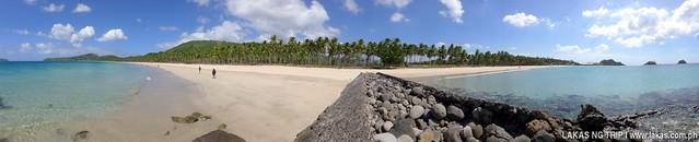 Panoramic Photo of old port at the beach in Nacpan and Calitang Twin Beach in El Nido, Palawan