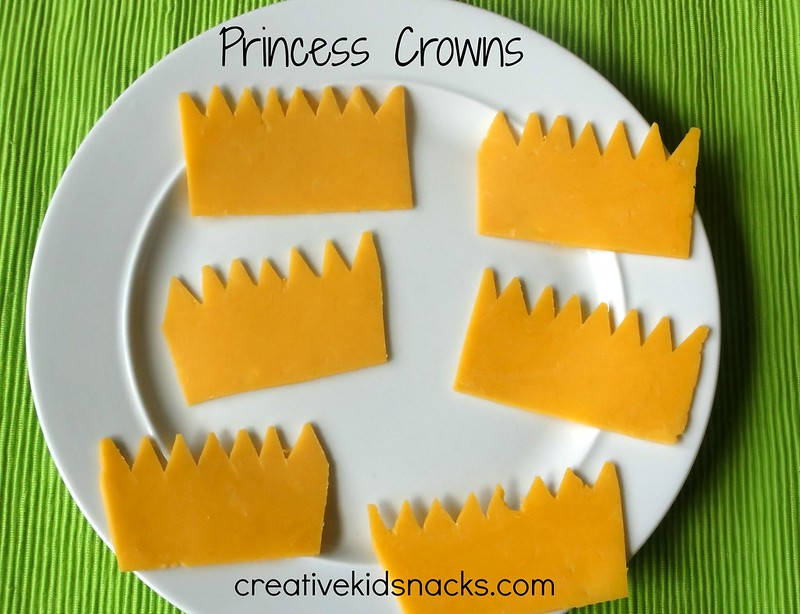 Simple Cheddar Cheese Princess Crowns - perfect for a princess party | CreativeKidSnacks.com