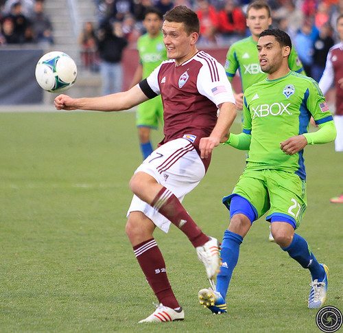 Shane O'Neill (Rapids), Lamar Neagle (Sounders), Colorado Rapids v. Seattle Sounders FC Apr. 20, 2013 by Corbin Elliott Photography