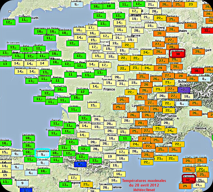 températures maximales et records de chaleur du 28 avril 2012 météopassion