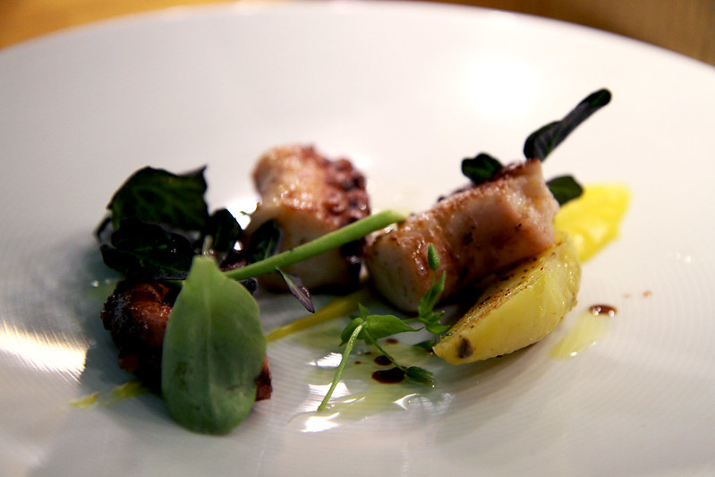 Spanish Octopus, lemon-squid ink purée, potato, smoked paprika