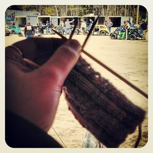 Managed to #knit one whole round at the #racetrack today... #IKnitSoIDontKillPeople #MustKnitMore