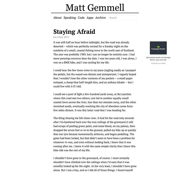 Current theme for my blog at mattgemmell.com