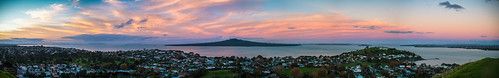 sunset newzealand panorama clouds photoshop landscape pano sigma auckland northshore northisland devonport aucklandcity lightroom rangitotoisland mountvictoria 30mm haurakigulf sigma30mmf14 2013 canon7d promelens