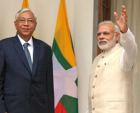 Myanmarese President U. Htin Kyaw with Narendra Modi at Hyderabad House in New Delhi on Monday. —Photo: V. Sudershan