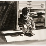 Crouching Child 2; charcoal, 22 x 30 in, 1994