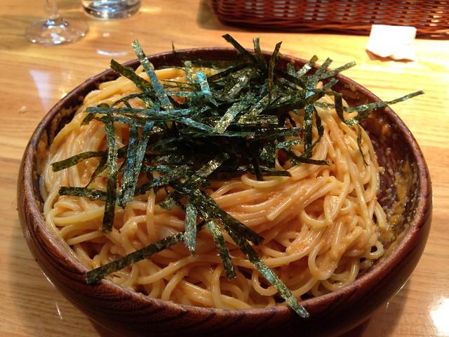 今日の昼ごはん。タラコとウニとイカのスパゲティ at ハシヤ (HASHIYA) – View on Path.