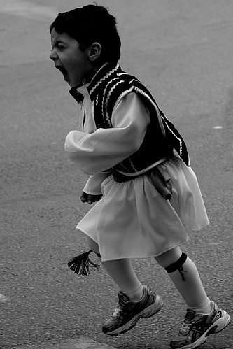 Greek child wearing traditional costume for independence day parade by Teacher Dude's BBQ