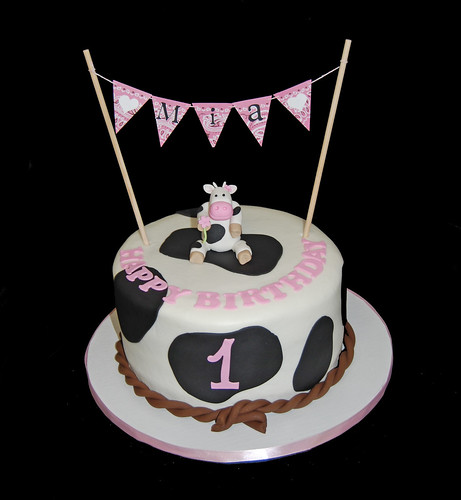 1st birthday cow and western themed cake