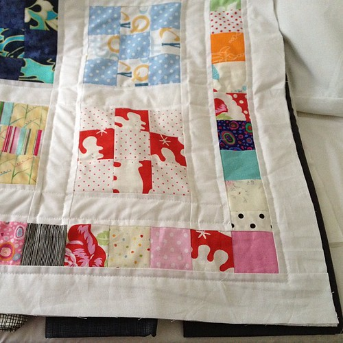 Quilting done, now to choose binding. Rather than more scrappy colour thinking of a charcoal solid to frame it - thoughts?