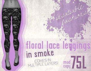 [IF] Floral Lace Leggings in Smoke