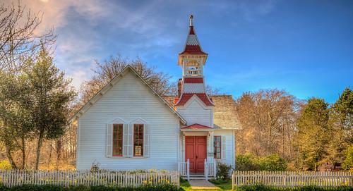 church spring sunset