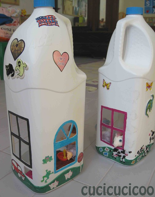 two plastic bleach bottles become doll houses