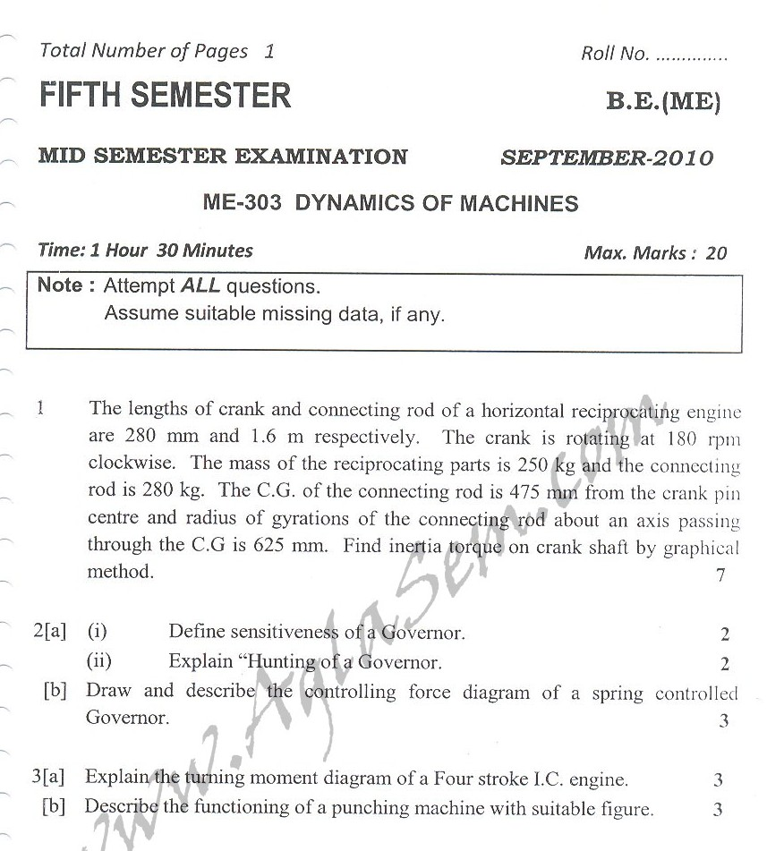 DTU Question Papers 2010 – 5 Semester - Mid Sem - ME-303
