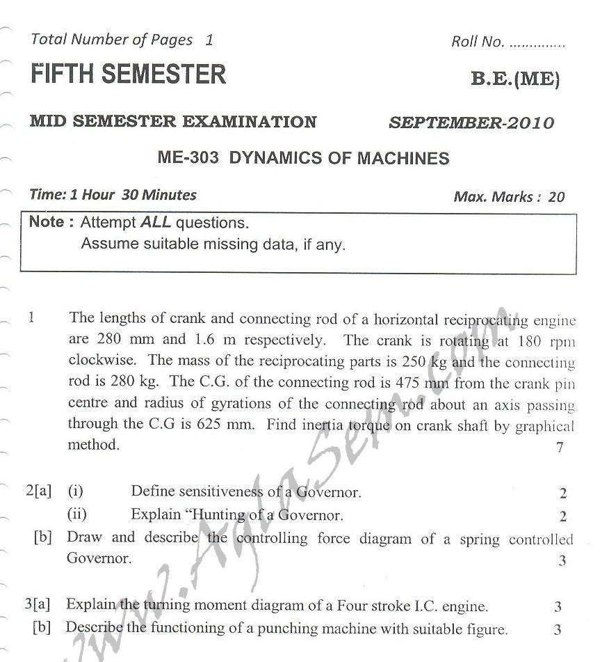 DTU Question Papers 2010 – 5 Semester - Mid Sem - ME-303