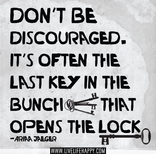 Don't be discouraged. It's often the last key in the bunch that opens the lock. - Ariaa Jaeger