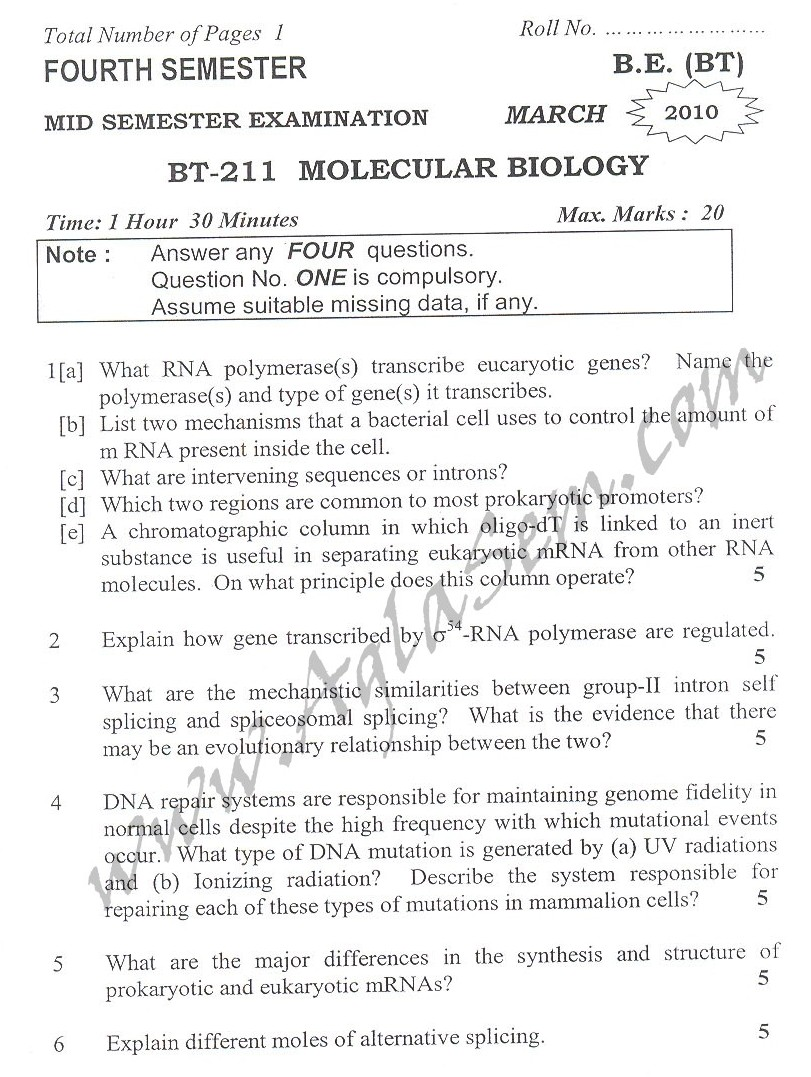 DTU Question Papers 2010 – 4 Semester - Mid Sem - BT-211