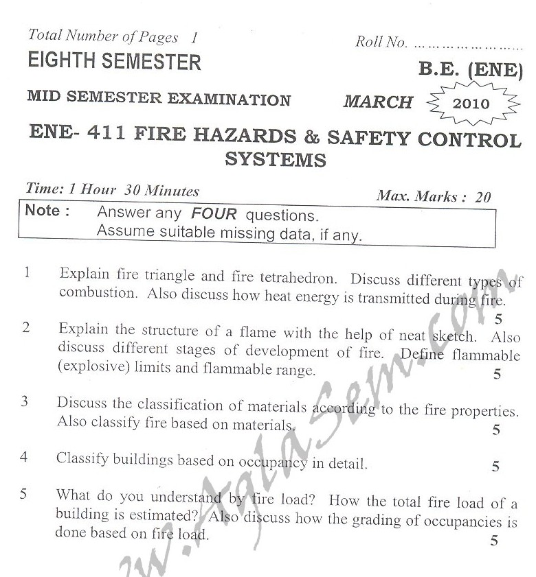 DTU Question Papers 2010 – 8 Semester - Mid Sem - ENE-411