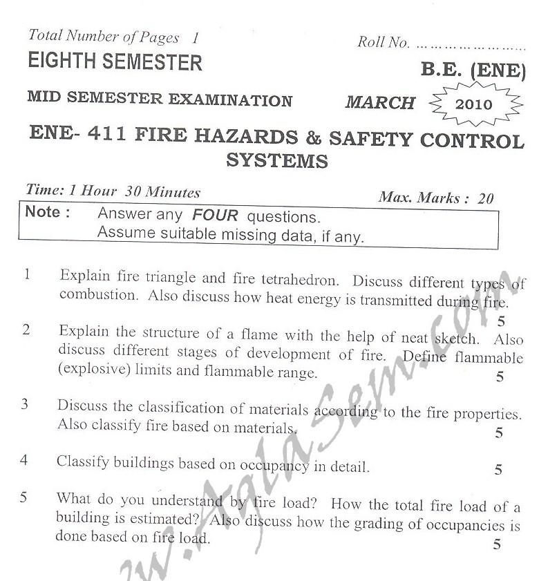 DTU Question Papers 2010 – 8 Semester - Mid Sem - ENE-411
