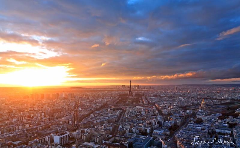 Panorama de paris au coucher de soleil explosion de couleurs - Horaire coucher du soleil aujourd hui ...
