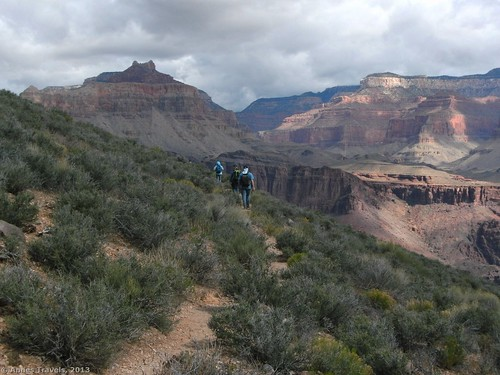 Hiking the Tonto Trail west of the South Kaibab Trail in Grand Canyon National Park, Arizona