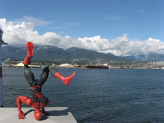 Spider-Man at Brockton Point, with the North Shore mountains