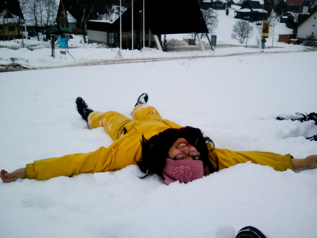 Attempting a Snow Angel | Zdiar, Slovakia