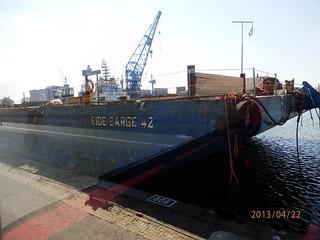 Barge 42, transportiert Teile für die Windkraftanlagen OFFshore