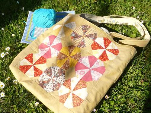 Vintage Quilt Block Tote