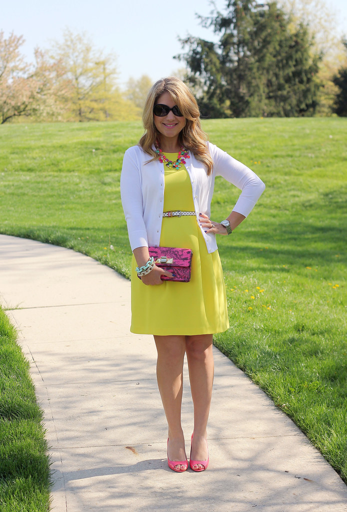 yellow dress colorful statement necklace outfit