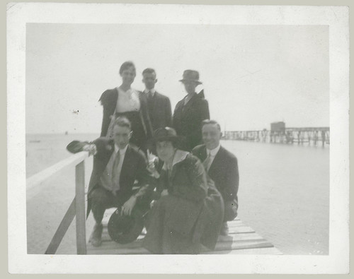 Group on pier
