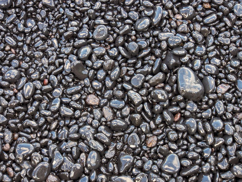 Dark pebbles