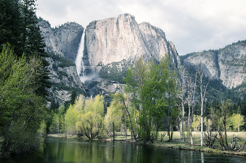 Yosemite Falls seen from the Swinging Bridge by koeb