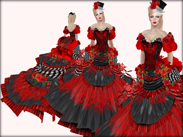 Victorian Ball Gown-Carmine Cotillion