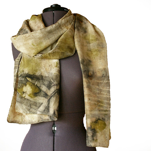 Silk scarf eco printed by Jane Bo