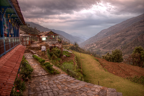 nepal hdr luminance landruk outdoor landscape mountainside mountain village path
