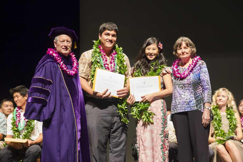 "<p>Aaron Saunders and Krista Kiyosaki each were presented the Hawaii Medical Association Alliance Endowment Award at the John A. Burns School of Medicine Convocation Ceremony at Kennedy Theatre May 12, 2013. Both of the new MDs are from Hilo, Hawai'i.<br /> <br /> For more photos go to the <a href=""http://www.flickr.com/photos/uhmed/sets/72157633482981004/with/8733152945/""> School of Medicine's Flickr album.</a></p>"