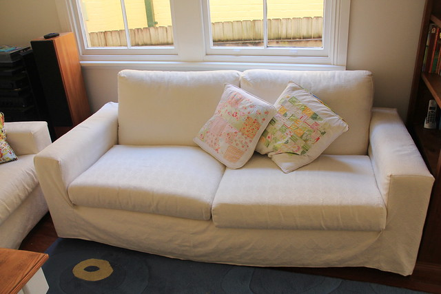 I Was So Happy When I Saw Them That They Are Really Square And So Very Easy  To Cover. I Started With The Cushions So We Could Actually Sit On Them.