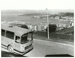 Newman's bus with Wellington City in background