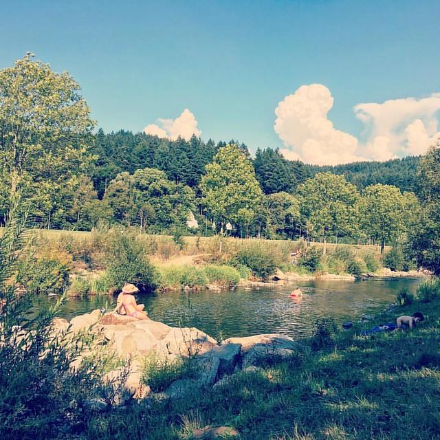 #Baden in der #Dreisam #Freiburg #Deutschland. #swimming #Fluss #river #germany