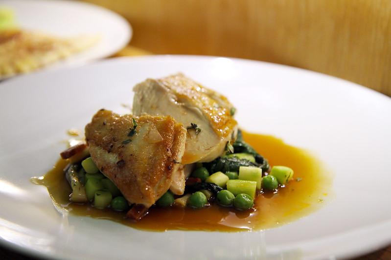 Free-Range Chicken Breast, asparagus, English peas, chorizo, fava beans