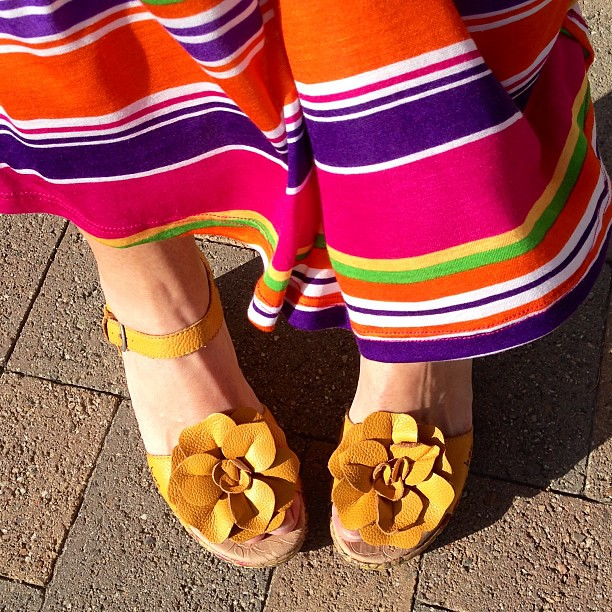 With my striped skirt and my mustard shoes, I'm ready for a fiesta.