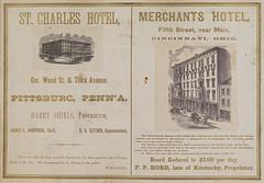 St. Charles Hotel, Pittsburg., Penn'a; Merchants Hotel, Cincinnati, Ohio