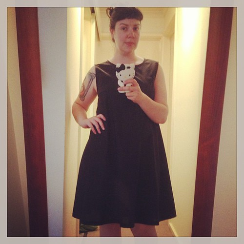 Just drafted and whipped up this basic black cotton dress for travelling... Some cute shoes & bright accessories and she'll get loads of wear! #handmade #sewing