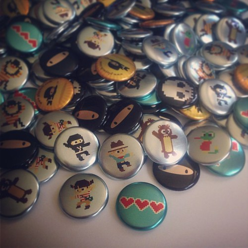 Whew! Just punched over 200 Ninja Cowboy Bear buttons for TCAF next week!