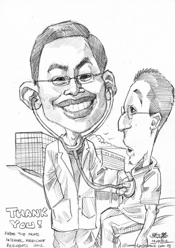 doctor caricatures in pencil for National University Health System (NUHS) - 1