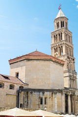 The bell tower of the St. Dominus / Sveti Duje Cathedral (12th Century AD) and octagonal-shaped Mausoleum, where Diocletian was entombed (Late 3rd – Early 4th Century AD).